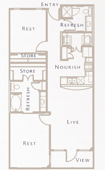 994 sq. ft. B2 floor plan