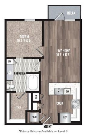 652 sq. ft. A1.2 floor plan