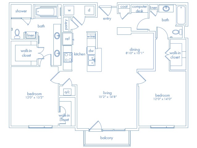 1,446 sq. ft. Dali Two floor plan