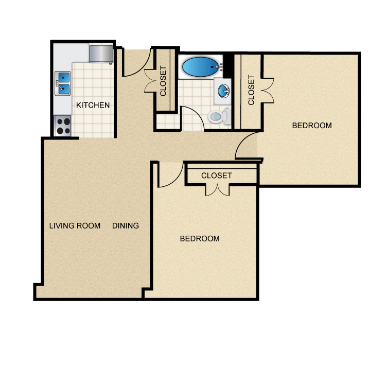 821 sq. ft. B1 floor plan