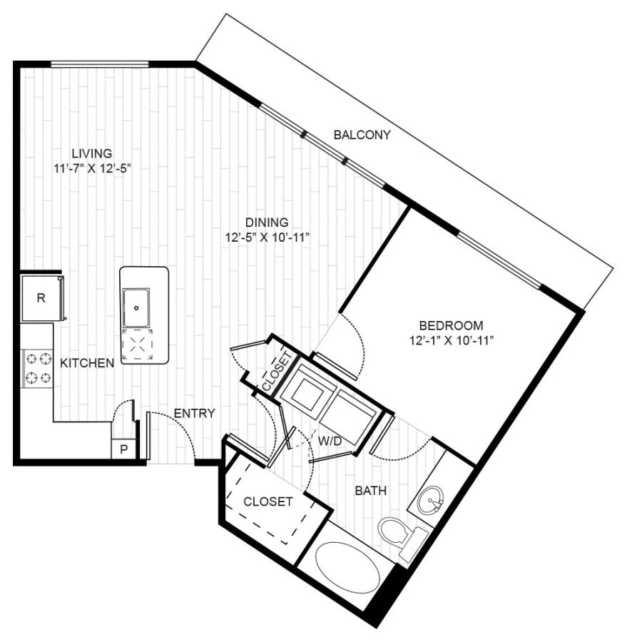 768 sq. ft. A3A floor plan