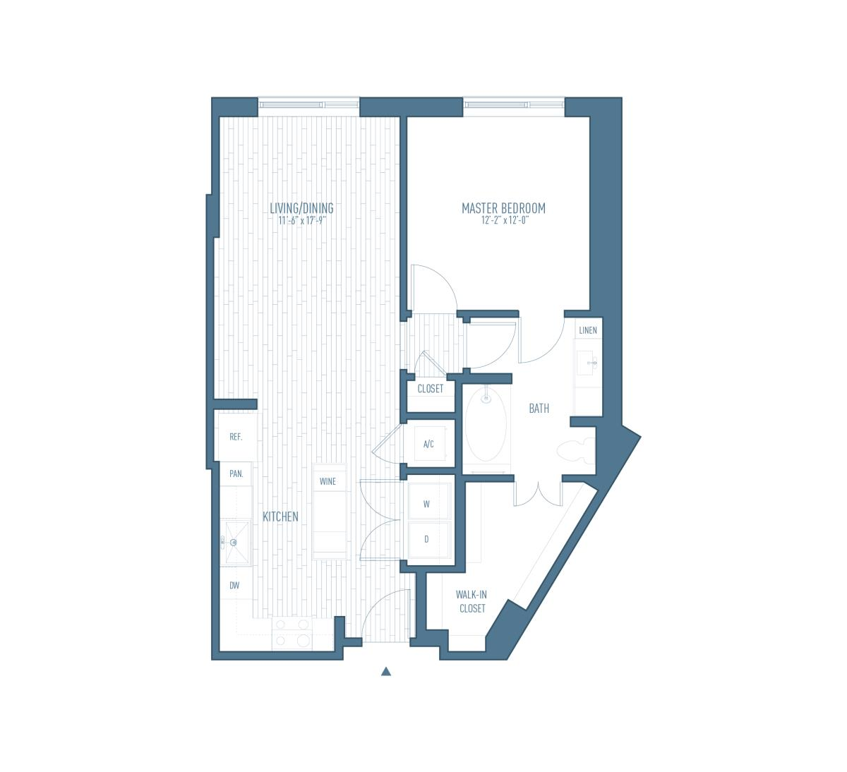 847 sq. ft. A2 floor plan