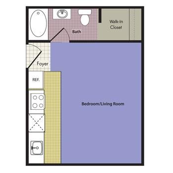 264 sq. ft. San Marino floor plan