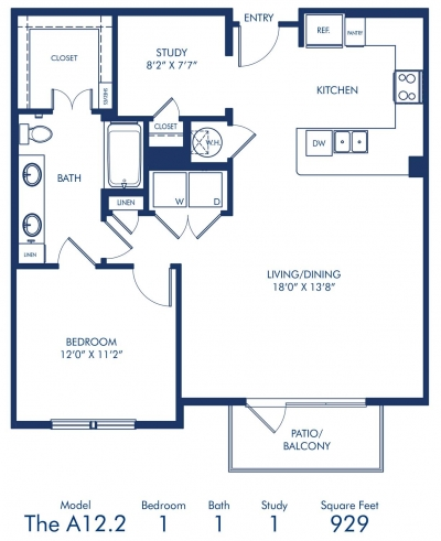 929 sq. ft. A12.2 floor plan