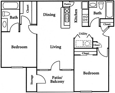 910 sq. ft. B3 floor plan