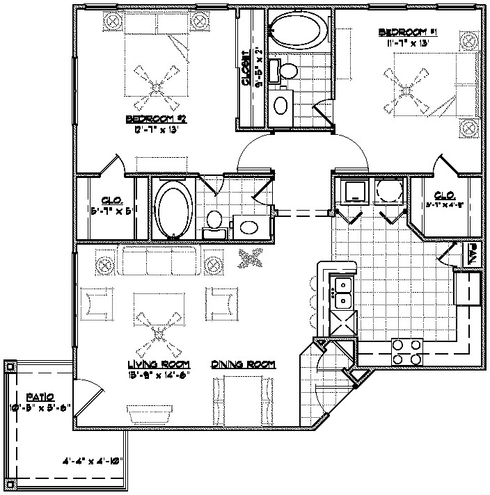 1,143 sq. ft. C2 floor plan