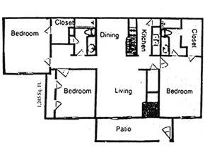 1,245 sq. ft. floor plan