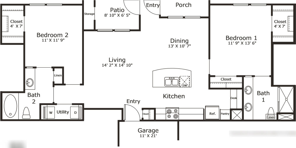 1,096 sq. ft. B2G floor plan