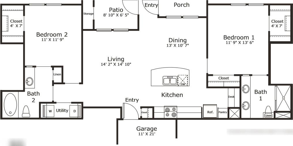 1,096 sq. ft. B2G floor plan