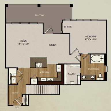 1,021 sq. ft. A7a floor plan