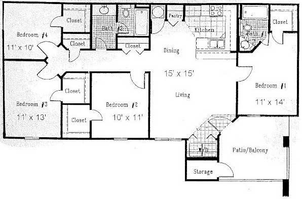 1,326 sq. ft. E floor plan