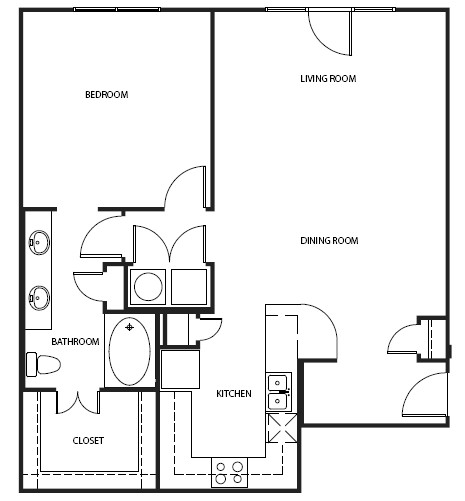 1,041 sq. ft. 2A10 floor plan