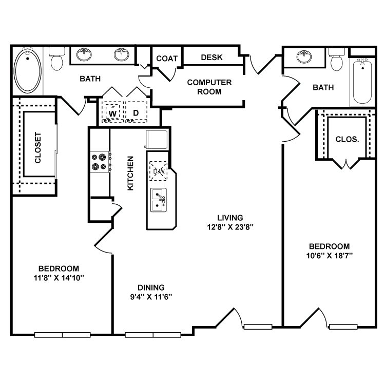 1,257 sq. ft. Guggenheim floor plan
