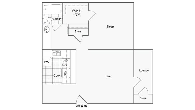 600 sq. ft. Sierra floor plan