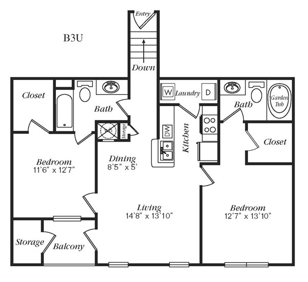 1,107 sq. ft. B3U floor plan