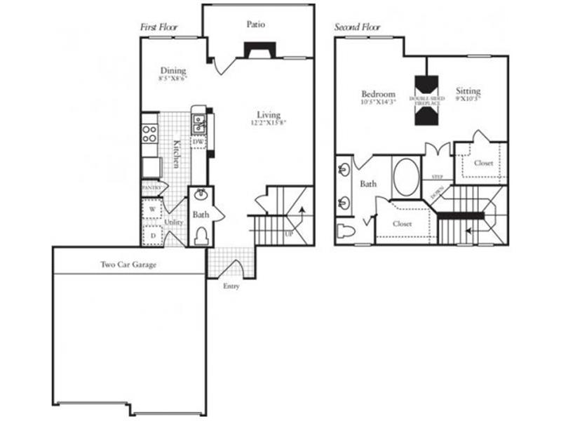 1,046 sq. ft. A3 floor plan