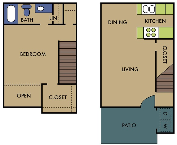 838 sq. ft. C floor plan