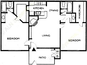 837 sq. ft. SARATOGA floor plan
