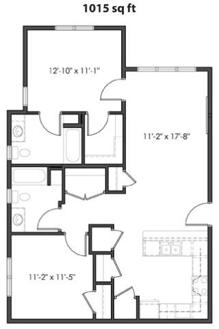 1,015 sq. ft. 60% floor plan