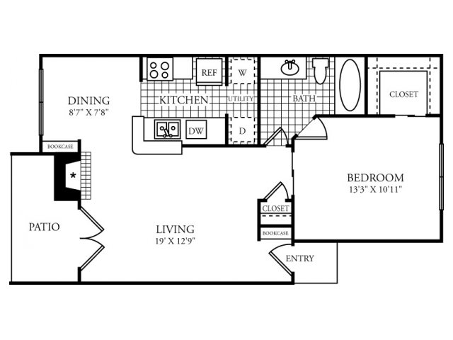 682 sq. ft. C floor plan