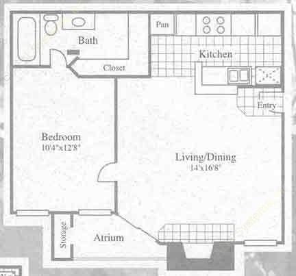 614 sq. ft. I floor plan