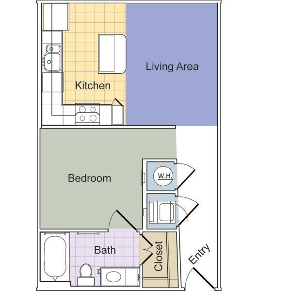 569 sq. ft. Grand (E1A) floor plan
