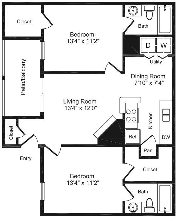 889 sq. ft. E floor plan