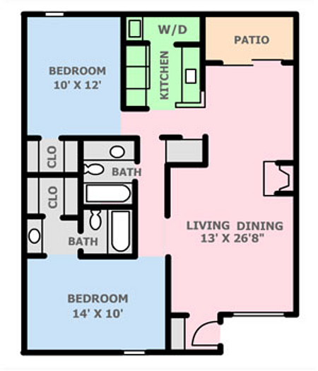 960 sq. ft. 1B floor plan