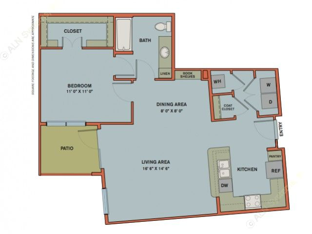 874 sq. ft. A12.4 floor plan