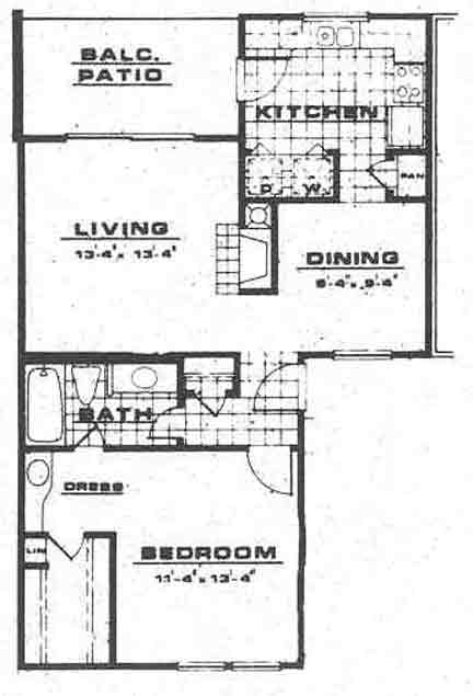 798 sq. ft. A2 floor plan