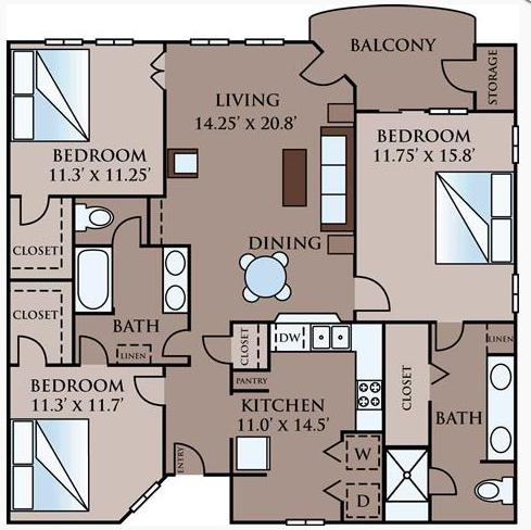 1,238 sq. ft. Grammercy floor plan