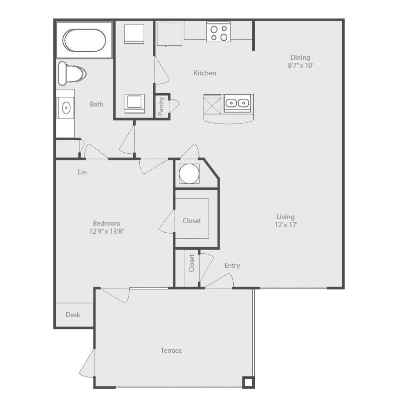783 sq. ft. to 798 sq. ft. Bosque floor plan