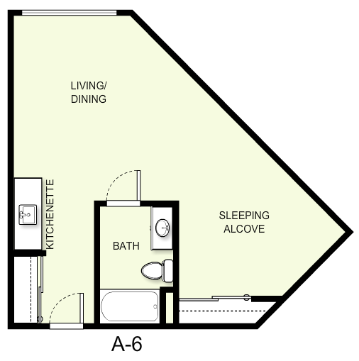 525 sq. ft. A6 floor plan