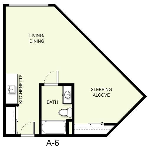 525 sq. ft. A6 floor plan