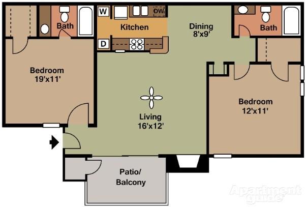 910 sq. ft. B2 floor plan