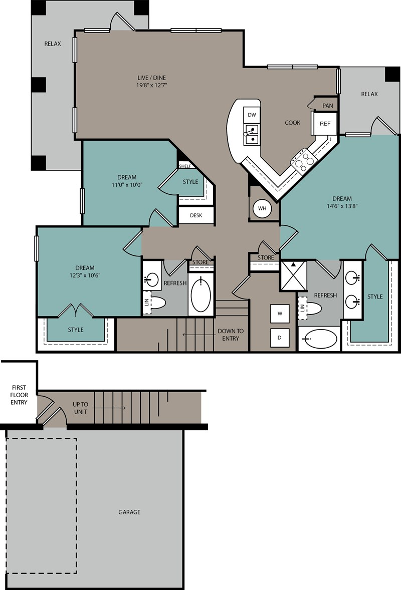 1,446 sq. ft. C1 U floor plan