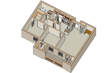 950 sq. ft. B1 60 floor plan
