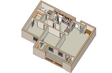 950 sq. ft. B1 60 floor plan