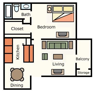 607 sq. ft. 1A10 floor plan