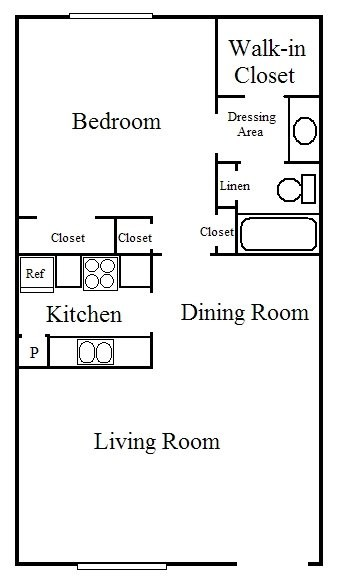 795 sq. ft. A3 floor plan
