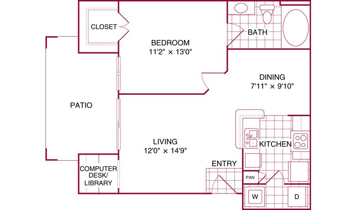 648 sq. ft. A floor plan