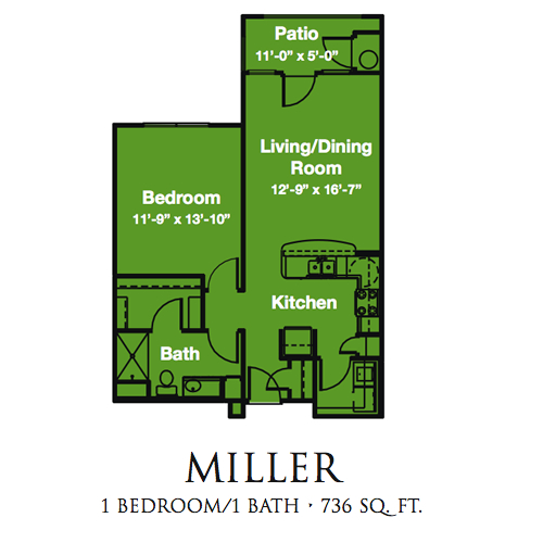 736 sq. ft. Miller/60% floor plan