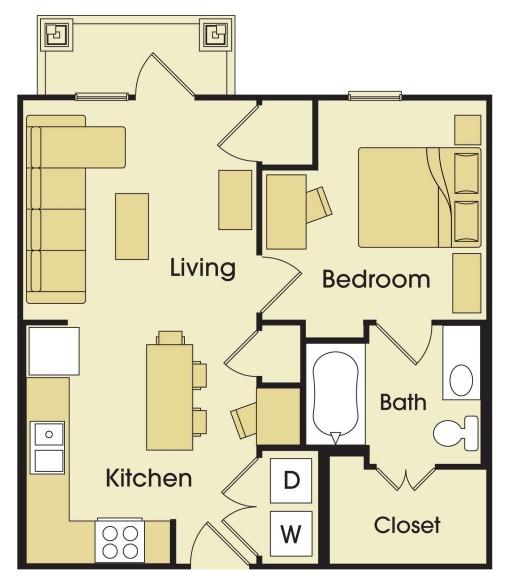 576 sq. ft. floor plan