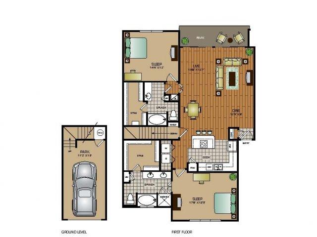 1,500 sq. ft. B2 TH floor plan