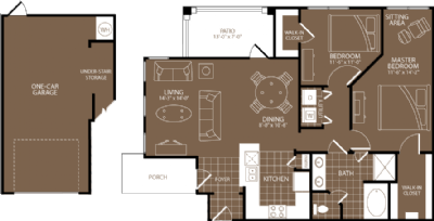 1,088 sq. ft. Milan floor plan