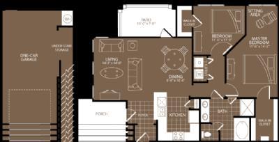 1,088 sq. ft. Milan floor plan