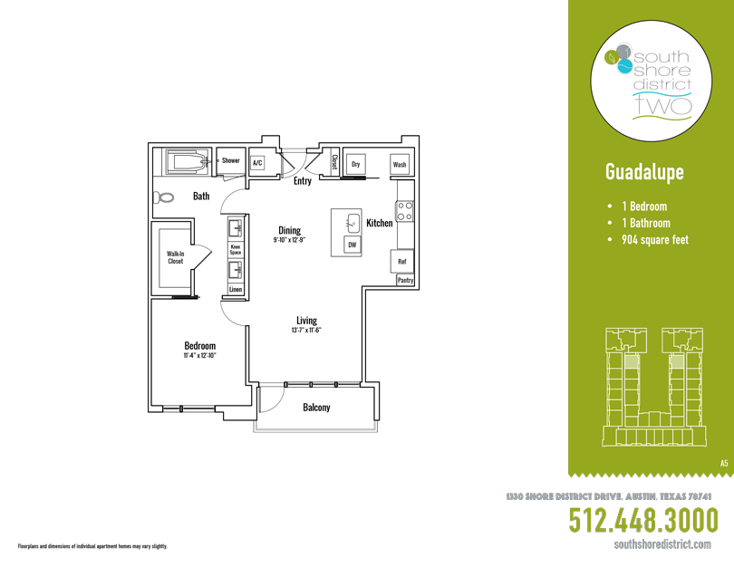 904 sq. ft. Guadalupe floor plan