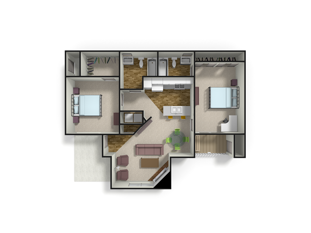 1,053 sq. ft. MAPLE floor plan