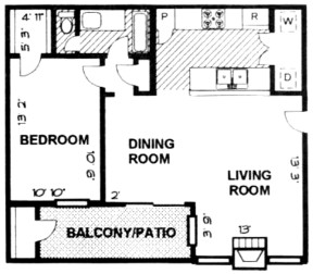 655 sq. ft. A3 PH C floor plan