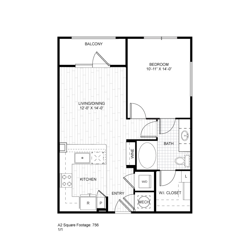 756 sq. ft. A2 floor plan